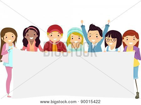 Illustration of Teenage Students Holding a Blank Banner