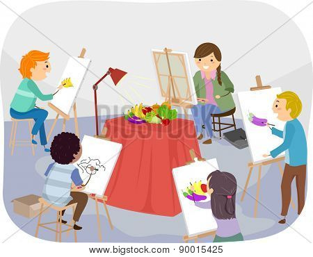 Illustration of Teens Painting Fruits Inside a Studio