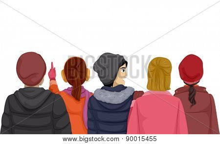 Back View Illustration of Teenagers Wearing Winter Clothes
