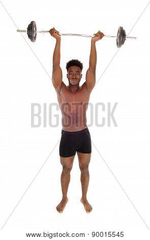 Black Man Weight Lifting.