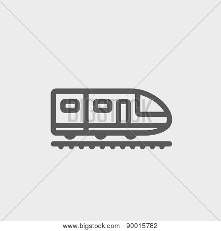 Modern high speed train icon thin line for web and mobile, modern minimalistic flat design. Vector dark grey icon on light grey background.