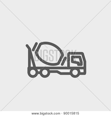 Concrete mixer truck icon thin line for web and mobile, modern minimalistic flat design. Vector dark grey icon on light grey background.