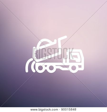Dump truck icon thin line for web and mobile, modern minimalistic flat design. Vector white icon on gradient mesh background.