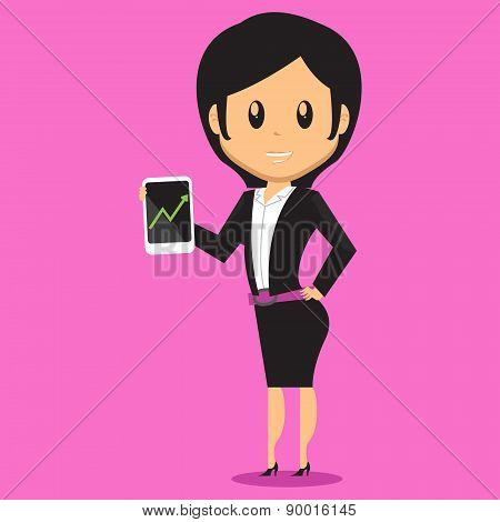 Office Woman Presenting Smartphone