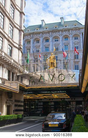 LONDON, UK - 22 JULY, 2014: Savoy hotel, one of the best holes in London and Europe. Main entrance a