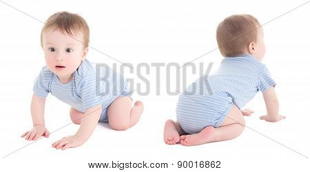Front And Back View Of Baby Boy Toddler Isolated On White