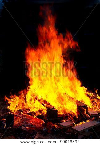 Big Bonfire With Dark Background