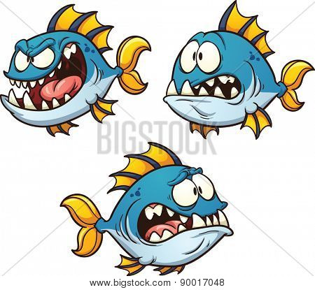 Big, fat and evil cartoon fish. Vector clip art illustration with simple gradients. Each on a separate layer. Eye pupils on separate layers for easy editing.