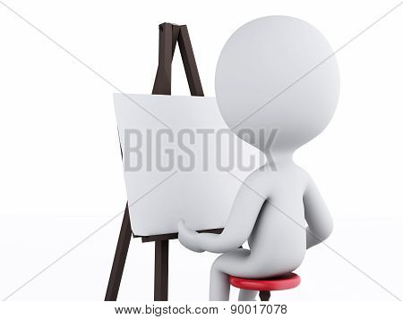 3d white people painter with an easel