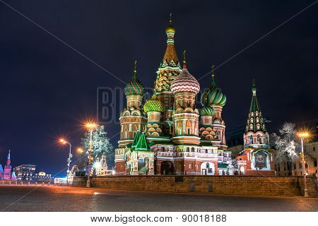 Night View Of The St Basil's Cathedral On The Red Square In Moscow