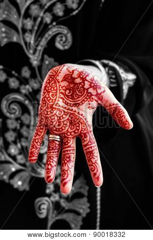 Henna hand tattoo body art tradition black and white mix