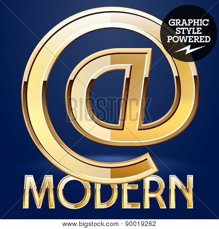Vector set of modern golden glossy font. Symbols 2