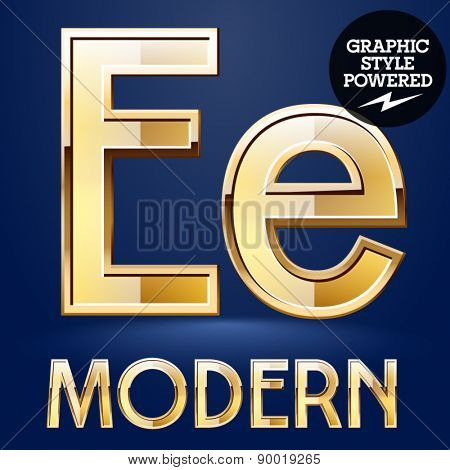 Vector set of modern golden glossy font. Letter E