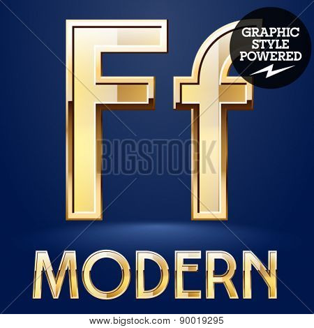 Vector set of modern golden glossy font. Letter F