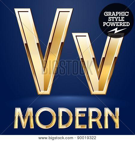 Vector set of modern golden glossy font. Letter V