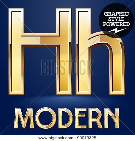 Vector set of modern golden glossy font. Letter H