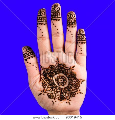 Henna hand tattoo decoration art clipping path square blue