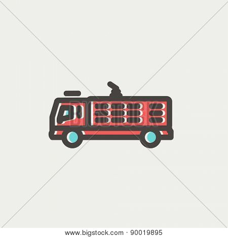 Fire truck icon thin line for web and mobile, modern minimalistic flat design. Vector icon with dark grey outline and offset colour on light grey background.
