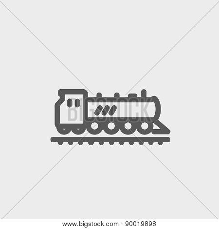 Railroad train icon thin line for web and mobile, modern minimalistic flat design. Vector dark grey icon on light grey background.