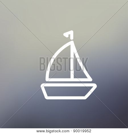 Sailboat icon thin line for web and mobile, modern minimalistic flat design. Vector white icon on gradient mesh background.