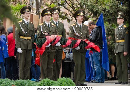 Cadets Young Guard With A Wreath In Memory Of The Fallen War