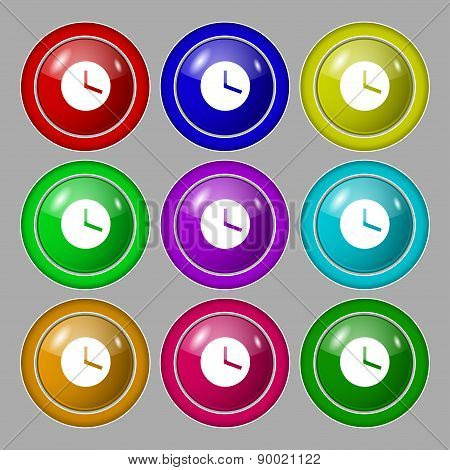 Mechanical Clock  Icon Sign. Symbol On Nine Round Colourful Buttons. Vector