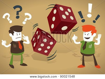 Corporate Guys Play With Casino Dice.