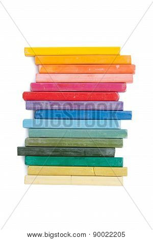 Rainbow Of Pastels On A White Background