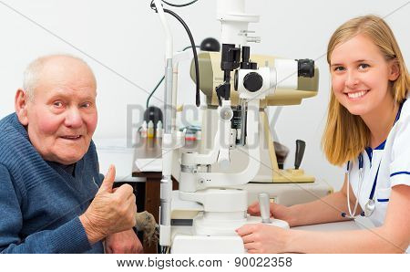 Contented Elderly Patient At The Optician's