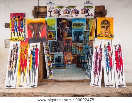Tinga tinga paintings in a local store on Zanzibar