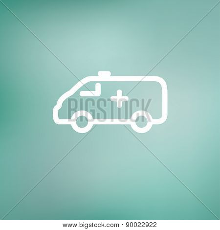 Ambulance icon thin line for web and mobile, modern minimalistic flat design. Vector white icon on gradient mesh background.