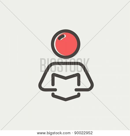 Man reading book icon thin line for web and mobile, modern minimalistic flat design. Vector icon with dark grey outline and offset colour on light grey background.