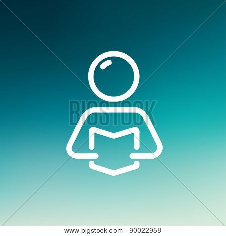 Man reading book icon thin line for web and mobile, modern minimalistic flat design. Vector white icon on gradient mesh background.