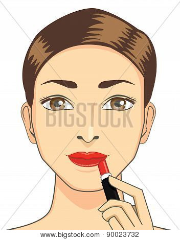 Women apply red lipstick