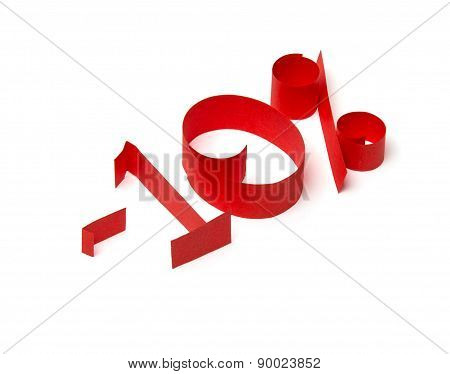 10 % Discount Sign Of Red Paper