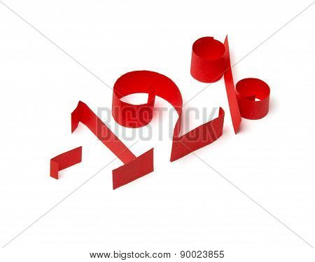 12 % Discount Sign Of Red Paper