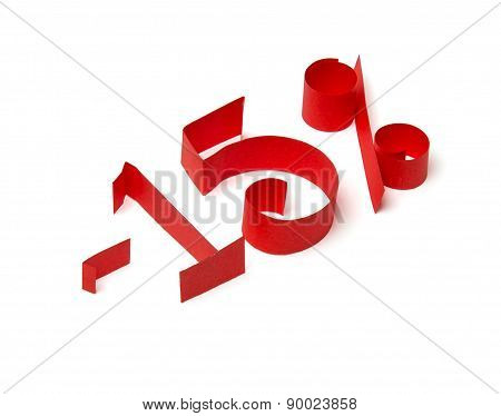 15 % Discount Sign Of Red Paper