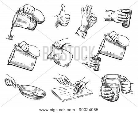 Isolated hand gestures illustration