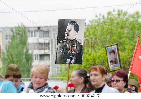 Portrait Stalin On Solemn Procession In Honor Of Victory