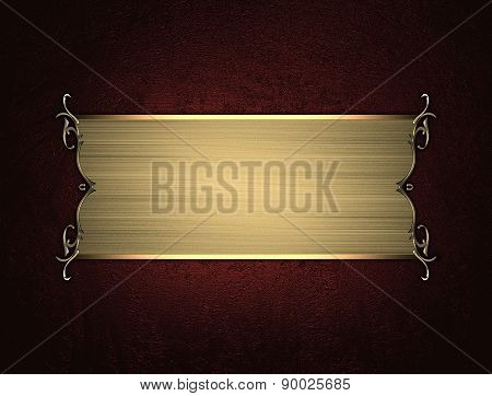 Grunge Red Background With A Gold Plate. Element For Design. Template For Design.