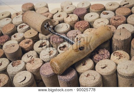 Corkscrew On The Background Of Wine Corks