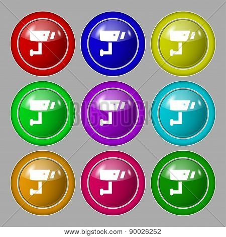 Surveillance Camera Icon Sign. Symbol On Nine Round Colourful Buttons. Vector