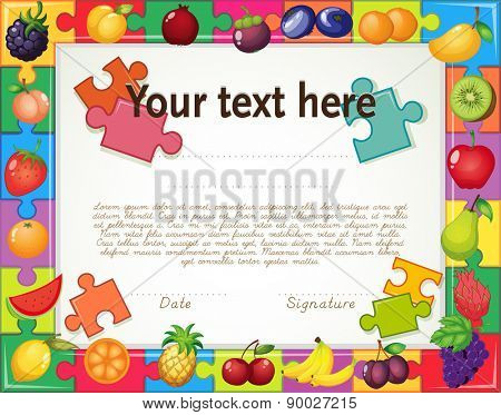 Certificate with fruit jigsaw puzzle frame