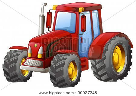 Close up plain red tractor