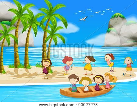 Children playing and rowing a boat in the ocean