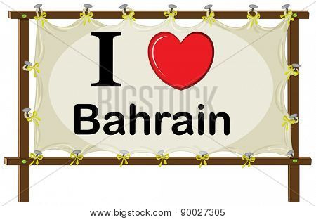 I love Bahrain sign in wooden frame