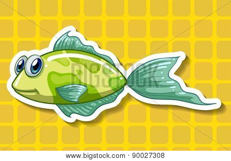 Close up green fish with yellow background