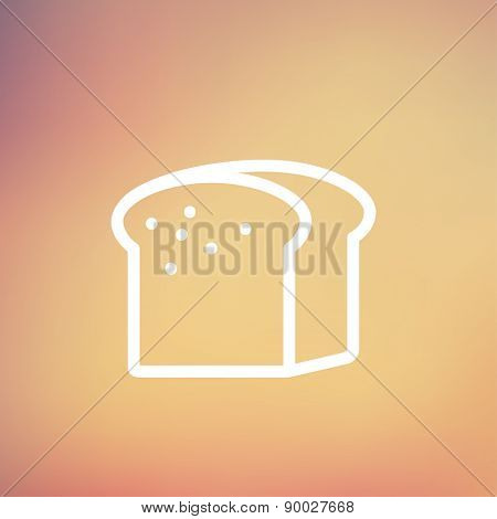 Small size loaf of bread icon thin line for web and mobile, modern minimalistic flat design. Vector white icon on gradient mesh background.