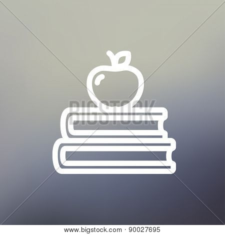 Three books with apple on the top icon thin line for web and mobile, modern minimalistic flat design. Vector white icon on gradient mesh background.
