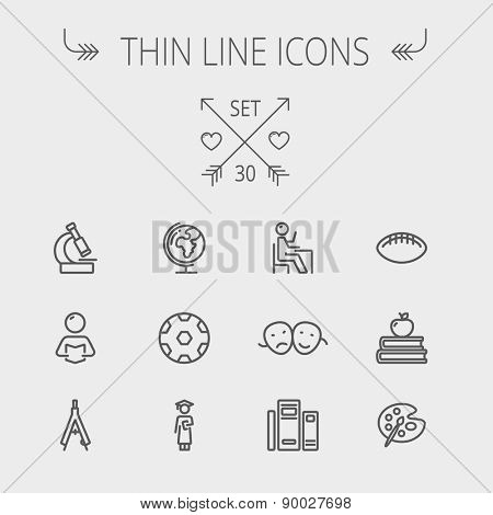 Education thin line icon set for web and mobile. Set includes-apple, books, binders, football ball, mask, global icons. Modern minimalistic flat design. Vector dark grey icon on light grey background.